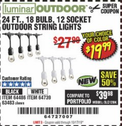 Harbor Freight Coupon 24FT., 18 BULB 12 SOCKET OUTDOOR STRING LIGHTS Lot No. 64486/63483 Expired: 10/17/19 - $19.99