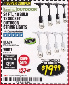 Harbor Freight Coupon 24FT., 18 BULB 12 SOCKET OUTDOOR STRING LIGHTS Lot No. 64486/63483 Expired: 8/31/19 - $19.99
