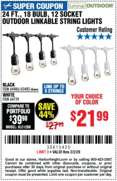 Harbor Freight Coupon 24FT., 18 BULB 12 SOCKET OUTDOOR STRING LIGHTS Lot No. 64486/63483 Expired: 2/2/20 - $21.99