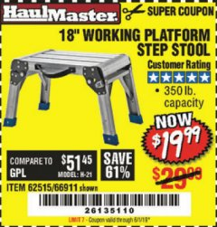 "Harbor Freight Coupon 18"" WORKING PLATFORM STEP STOOL Lot No. 62515/66911 Expired: 6/1/19 - $19.99"