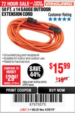 Harbor Freight Coupon 50 FT. x 14 GAUGE OUTDOOR EXTENSION CORD Lot No. 62923 Expired: 4/28/19 - $15.99