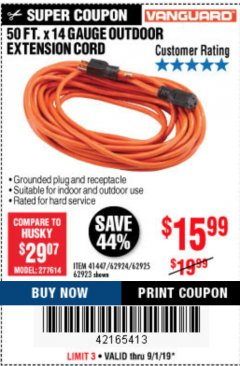 Harbor Freight Coupon 50 FT. x 14 GAUGE OUTDOOR EXTENSION CORD Lot No. 62923 Expired: 9/1/19 - $15.99