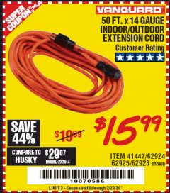 Harbor Freight Coupon 50 FT. x 14 GAUGE OUTDOOR EXTENSION CORD Lot No. 62923 Expired: 2/29/20 - $15.99