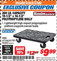 "Harbor Freight ITC Coupon 19-1/2"" X 14-1/2"" POLYPROPYLENE DOLLY Lot No. 61164/61781/95353 Expired: 1/31/20 - $9.99"