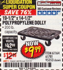 "Harbor Freight Coupon 19-1/2"" X 14-1/2"" POLYPROPYLENE DOLLY Lot No. 61164/61781/95353 Expired: 5/31/19 - $9.99"