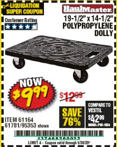 "Harbor Freight Coupon 19-1/2"" X 14-1/2"" POLYPROPYLENE DOLLY Lot No. 61164/61781/95353 Expired: 6/30/20 - $9.99"