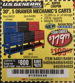 "Harbor Freight Coupon 30"", 5 DRAWER MECHANIC'S CARTS (RED, BLUE & BLACK) Lot No. 64031/64033/64032/64030/61427/64059/64060/64061/63308/95272 Expired: 1/17/19 - $179.99"