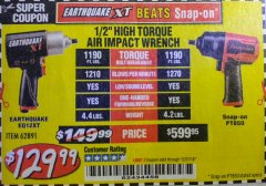 "Harbor Freight Coupon 1/2"" HIGH TORQUE AIR IMPACT WRENCH EARTHQUAKE EQ12XT Lot No. 62891 Expired: 12/31/18 - $129.99"