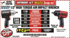 "Harbor Freight Coupon 1/2"" HIGH TORQUE AIR IMPACT WRENCH EARTHQUAKE EQ12XT Lot No. 62891 Expired: 6/15/19 - $129.99"
