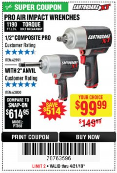 "Harbor Freight Coupon 1/2"" HIGH TORQUE AIR IMPACT WRENCH EARTHQUAKE EQ12XT Lot No. 62891 Expired: 4/21/19 - $99.99"