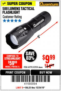 Harbor Freight Coupon QUANTUM 588 LUMENS TACTICAL FLASHLIGHT Lot No. 64799/63934 Expired: 12/24/18 - $9.99
