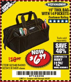"Harbor Freight Coupon VOYAGER 15"" WIDE MOUTH TOOL BAG Lot No. 62348/62341/61469 Valid Thru: 6/30/20 - $6.99"