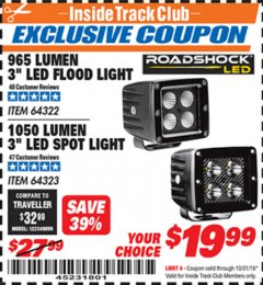 "Harbor Freight ITC Coupon ROADSHOCK 965 LUMENS 3"" FLOOD LIGHT OR 1050 LUMENS 3"" SPOT LIGHT Lot No. 64322/64323 Expired: 10/31/19 - $19.99"