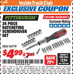 Harbor Freight ITC Coupon 34 PIECE RATCHETING SCREWDRIVER SET Lot No. 94779 Expired: 11/30/18 - $4.99
