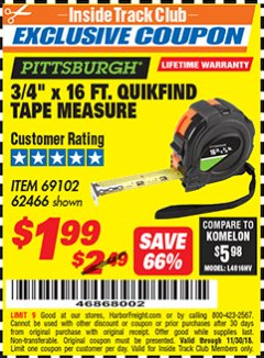 "Harbor Freight ITC Coupon 3/4"" X 16 FT. QUICKFIND TAPE MEASURE Lot No. 62466/69102 Expired: 11/30/18 - $1.99"
