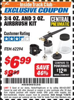 Harbor Freight ITC Coupon 3/4 OZ. AND 3 OZ. AIRBRUSH KIT Lot No. 62294 Expired: 11/30/18 - $6.99