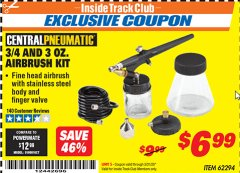 Harbor Freight ITC Coupon 3/4 OZ. AND 3 OZ. AIRBRUSH KIT Lot No. 62294 Expired: 3/31/20 - $6.99