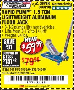 harbor freight coupon rapid pump 1 5 ton aluminum racing jack lot no   68053/69252
