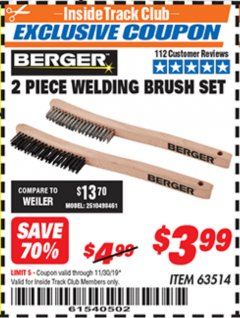 Harbor Freight ITC Coupon 2 PIECE WELDING BRUSH SET Lot No. 63514 Expired: 11/30/19 - $3.99