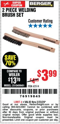 Harbor Freight Coupon 2 PIECE WELDING BRUSH SET Lot No. 63514 Valid: 2/11/20 - 2/23/20 - $3.99