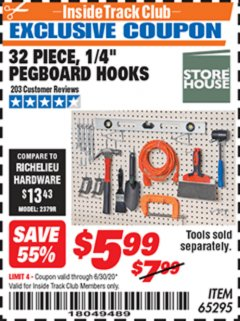 "Harbor Freight ITC Coupon 32 PIECE, 1/4"" PEGBOARD HOOKS Lot No. 65295 Dates Valid: 12/31/69 - 6/30/20 - $5.99"