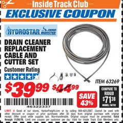Harbor Freight ITC Coupon DRAIN CLEANER REPLACEMENT CABLE AND CUTTER SET Lot No. 63269 Expired: 11/30/18 - $39.99