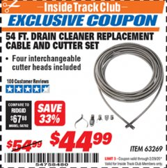 Harbor Freight ITC Coupon DRAIN CLEANER REPLACEMENT CABLE AND CUTTER SET Lot No. 63269 Expired: 2/29/20 - $44.99