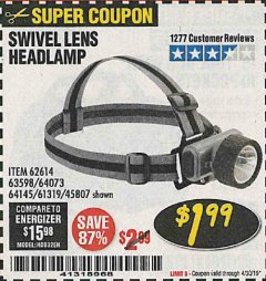 Harbor Freight Coupon HEADLAMP WITH SWIVEL LENS Lot No. 45807/61319/63598/62614 Expired: 4/30/19 - $1.99