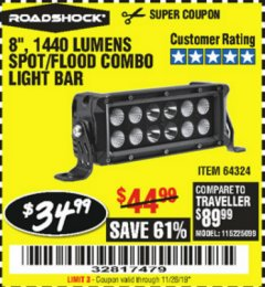 Harbor Freight Coupon ROADSHOCK 1440 LUMENS 8 IN. COMBO LIGHT BAR Lot No. 64324 Expired: 11/26/19 - $34.99