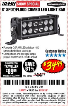 Harbor Freight Coupon ROADSHOCK 1440 LUMENS 8 IN. COMBO LIGHT BAR Lot No. 64324 Expired: 11/24/19 - $34.99