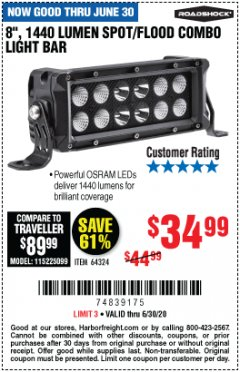 Harbor Freight Coupon ROADSHOCK 1440 LUMENS 8 IN. COMBO LIGHT BAR Lot No. 64324 EXPIRES: 6/30/20 - $34.99