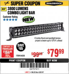 "Harbor Freight Coupon ROADSHOCK 22"" SPOT/FLOOD COMBO 3800 LUMENS Lot No. 64320 Expired: 4/28/19 - $79.99"