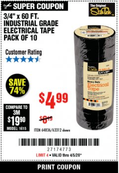 "Harbor Freight Coupon 3/4"" x 60 FT. INDUSTRIAL GRADE ELECTRICAL TAPE - 10 ROLLS Lot No. 6047/69587/61983/61984 Expired: 4/5/20 - $4.99"