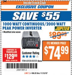 Harbor Freight ITC Coupon 1000 WATT CONTINUOUS / 2000 WATT PEAK POWER INVERTER Lot No. 63523 Expired: 11/13/18 - $74.99