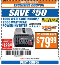 Harbor Freight ITC Coupon 1000 WATT CONTINUOUS / 2000 WATT PEAK POWER INVERTER Lot No. 63523 Expired: 12/26/18 - $79.99