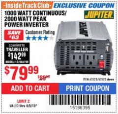 Harbor Freight ITC Coupon 1000 WATT CONTINUOUS / 2000 WATT PEAK POWER INVERTER Lot No. 63523 Expired: 6/5/19 - $79.99