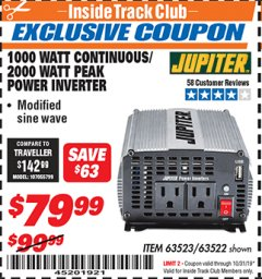 Harbor Freight ITC Coupon 1000 WATT CONTINUOUS / 2000 WATT PEAK POWER INVERTER Lot No. 63523 Expired: 10/31/19 - $79.99