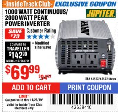 Harbor Freight ITC Coupon 1000 WATT CONTINUOUS / 2000 WATT PEAK POWER INVERTER Lot No. 63523 Expired: 11/26/19 - $69.99