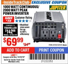 Harbor Freight ITC Coupon 1000 WATT CONTINUOUS / 2000 WATT PEAK POWER INVERTER Lot No. 63523 Expired: 12/24/19 - $69.99
