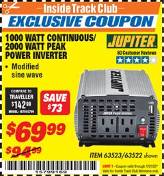 Harbor Freight ITC Coupon 1000 WATT CONTINUOUS / 2000 WATT PEAK POWER INVERTER Lot No. 63523 Expired: 1/31/20 - $69.99
