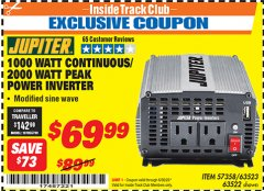 Harbor Freight ITC Coupon 1000 WATT CONTINUOUS / 2000 WATT PEAK POWER INVERTER Lot No. 63523 Expired: 6/30/20 - $69.99