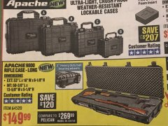 "Harbor Freight Coupon APACHE 9800 WEATHERPROOF 13-1/2"" X 50-1/2"" CASE - LONG Lot No. 64520 Expired: 5/31/19 - $149.99"