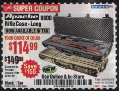 "Harbor Freight Coupon APACHE 9800 WEATHERPROOF 13-1/2"" X 50-1/2"" CASE - LONG Lot No. 64520 Expired: 7/5/20 - $114.99"