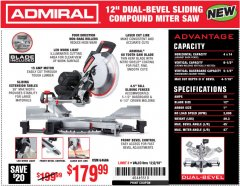 "Harbor Freight Coupon ADMIRAL 12"" DUAL-BEVEL SLIDING COMPOUND MITER SAW Lot No. 64686 Expired: 12/2/18 - $179.99"
