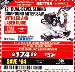 "Harbor Freight Coupon ADMIRAL 12"" DUAL-BEVEL SLIDING COMPOUND MITER SAW Lot No. 64686 Expired: 3/31/20 - $174.99"