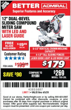 "Harbor Freight Coupon ADMIRAL 12"" DUAL-BEVEL SLIDING COMPOUND MITER SAW Lot No. 64686 Valid: 3/11/20 - 6/30/20 - $179"