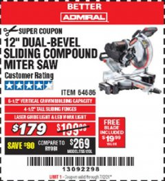 "Harbor Freight Coupon ADMIRAL 12"" DUAL-BEVEL SLIDING COMPOUND MITER SAW Lot No. 64686 Valid Thru: 7/2/20 - $179"