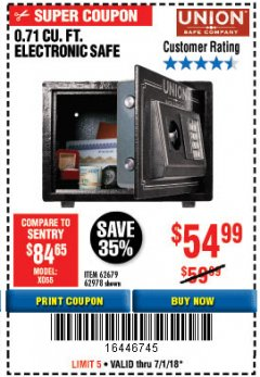Harbor Freight Coupon 0.71 CU. FT. ELECTRONIC DIGITAL SAFE Lot No. 45891/61724/62679 Expired: 7/1/18 - $54.99