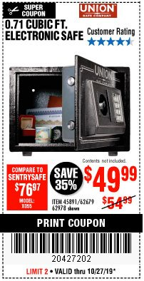 Harbor Freight Coupon 0.71 CU. FT. ELECTRONIC DIGITAL SAFE Lot No. 45891/61724/62679 Expired: 10/27/19 - $49.99