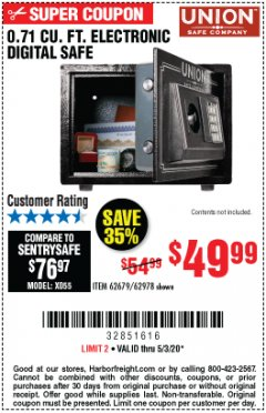 Harbor Freight Coupon 0.71 CU. FT. ELECTRONIC DIGITAL SAFE Lot No. 45891/61724/62679 Expired: 6/30/20 - $49.99